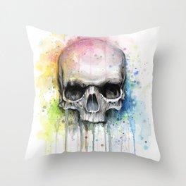Skull Rainbow Watercolor Throw Pillow