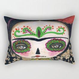 Frida The Catrina And The Devil - Dia De Los Muertos Mixed Media Art Rectangular Pillow