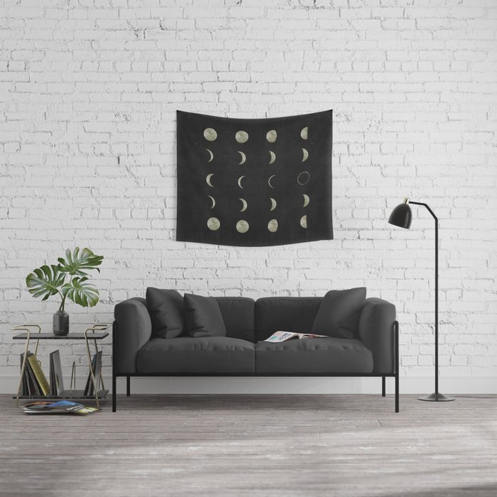Moon Phases, Black White Decor, Bohemian, Magic, Lunar Cycle Wall Tapestry