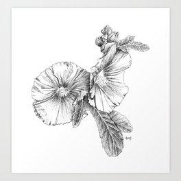 Hollyhock flowers Art Print
