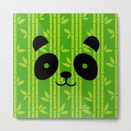 Evergreen Bamboos with Panda Metal Print