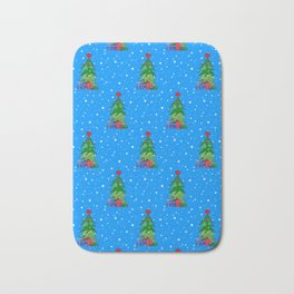 Whimsical Christmas Tree Pattern Bath Mat