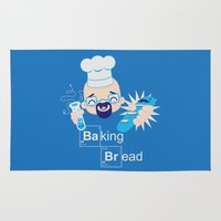 baking Area & Throw Rugs featuring Baking Bread Kawaii by DarkChoocoolat