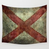 alabama Wall Tapestries featuring Alabama state flag by Bruce Stanfield