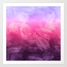 Watercolor Purple Fuchsia Ombre Painting Art Print