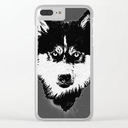 husky dog face grafiti spray art Clear iPhone Case