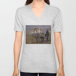Boy and Girl Riding Donkeys - Isaac Israëls Unisex V-Neck