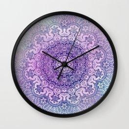 big beauty mandala in pale blues Wall Clock
