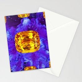 Golden Topaz Gems & Amethyst-Ultra-Violet Purple Color Stationery Cards