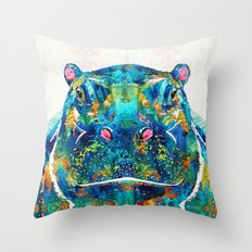 Hippopotamus Art - Happy Hippo - By Sharon Cummings Throw Pillow