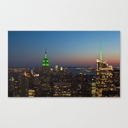 Green Empire State Building and Bank of America Tower at dusk Canvas Print