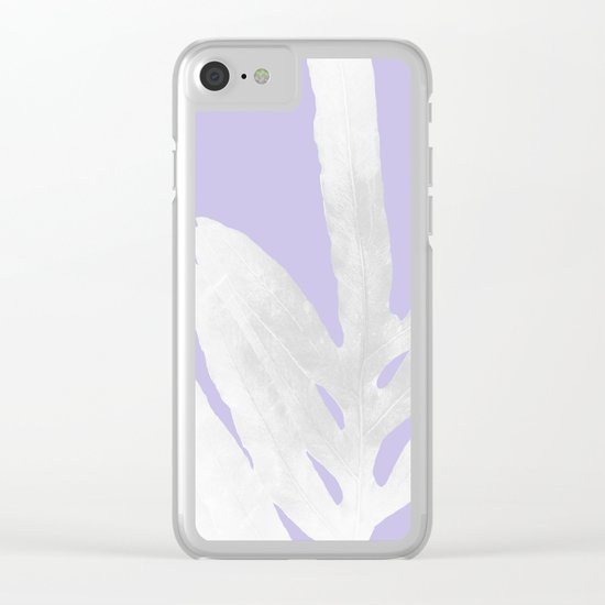Green Fern on Lavender Inverted Clear iPhone Case