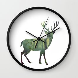 Reindeer Silhouette | Forest Photography Wall Clock