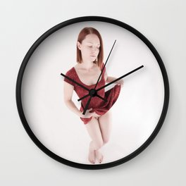 1123s-MM Redhead Wearing Little Red Dress Commando Style Wall Clock