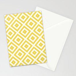 Yellow and white ethnic tribal zig zag rhombus pattern Stationery Cards