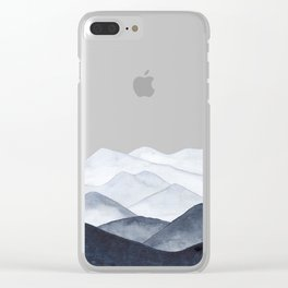 Watercolor Mountains Clear iPhone Case