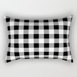 Large Black Christmas Gingham Plaid Check Rectangular Pillow