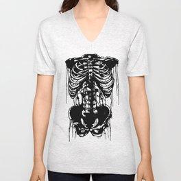Drip skeleton chest and pelvic bone horror piece or anatomy piece  Unisex V-Neck