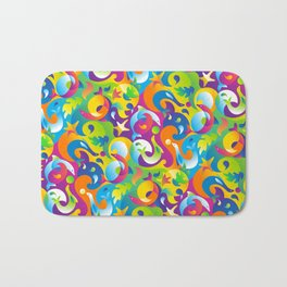 Dolphins, Seals and Sea Life in Tropical Ocean Waves Bath Mat
