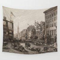 broadway Wall Tapestries featuring Vintage Broadway NYC Illustration (1840) by BravuraMedia