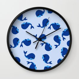 BABY WHALES IN BLUE Wall Clock