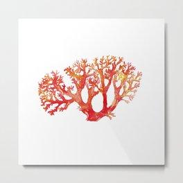 Coral watercolor painting print art botanical Metal Print