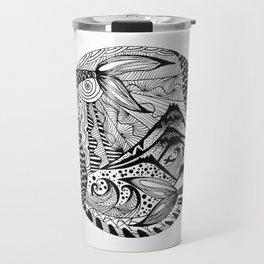 Ink drawing Zodiac Pisces Travel Mug
