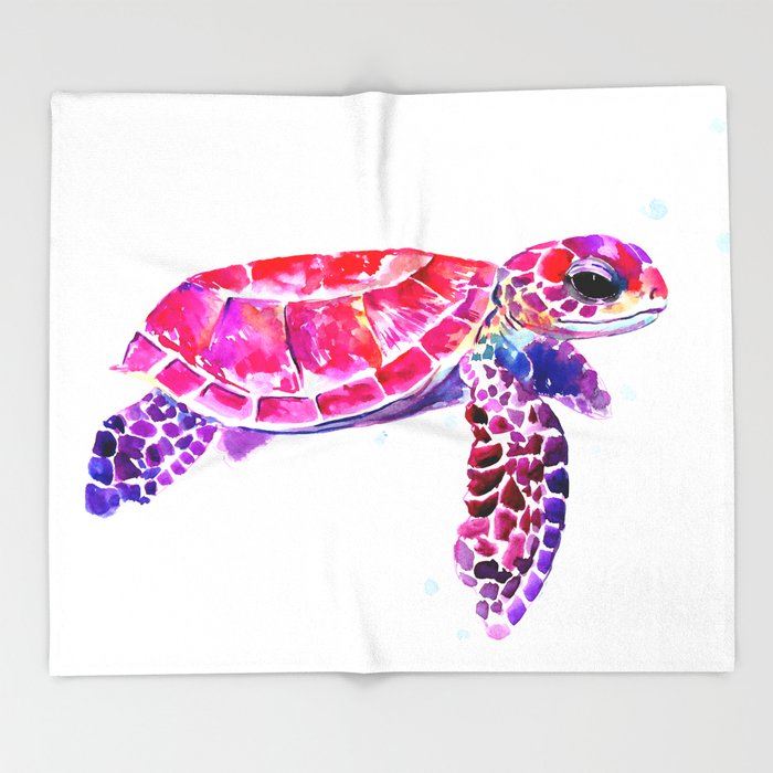 Purple Turtle Bright Pink, purple blue turtle illustration, children room decor Throw Blanket