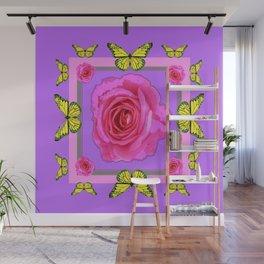 Lilac Art yellow Butterflies Rose Design Wall Mural