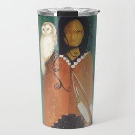 Wise Woman // Native American Woman Shaman Shamanism Owl Spirit Animal Feather Tree Turquoise Indian Travel Mug