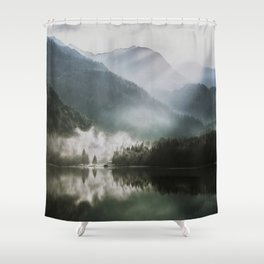 Dreamlike Morning at the Lake - Nature Forest Mountain Photography Shower Curtain