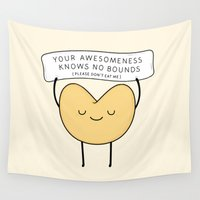 cookie Wall Tapestries featuring fortune cookie by kim vervuurt