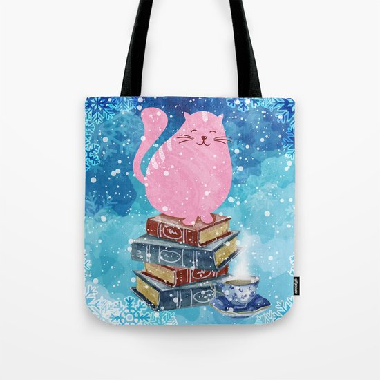 Bookish Cat in Winter Tote Bag