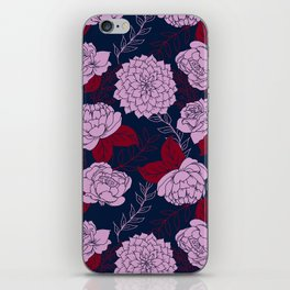 Floral Patten in Navy, Light Orchid, and Burgundy iPhone Skin