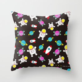 Space Odyssey in Black | Floating Astronauts | Rockets Throw Pillow