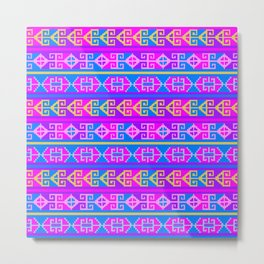 Colorful Mexican Aztec geometric pattern Metal Print