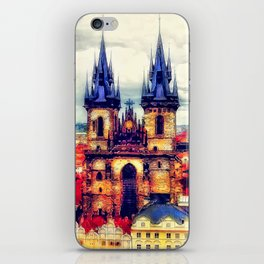 Prague Church Of Our Lady Before Tyn Watercolor iPhone Skin