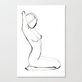 Nude Model Drawing Canvas Print