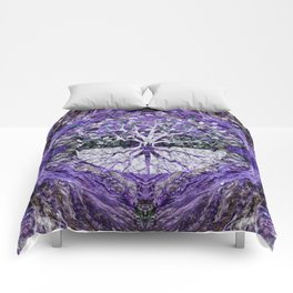 Silver Tree of Life Yggdrasil on Amethyst Geode Comforters