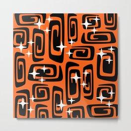 Mid Century Modern Cosmic Galaxies 435 Black and Orange Metal Print
