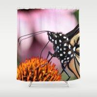 dentist Shower Curtains featuring Monarch Macro by IowaShots