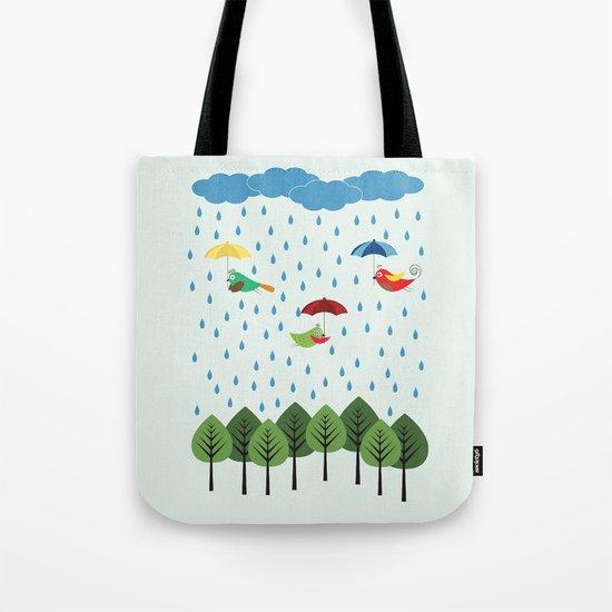 Birds in the rain. Tote Bag