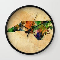 north carolina Wall Clocks featuring North Carolina by TiannaHarman