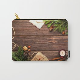 Christmas Holiday Rustic Decor Wooden Planks Carry-All Pouch