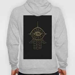 Hamsa Hand Gold on Black #1 #drawing #decor #art #society6 Hoody