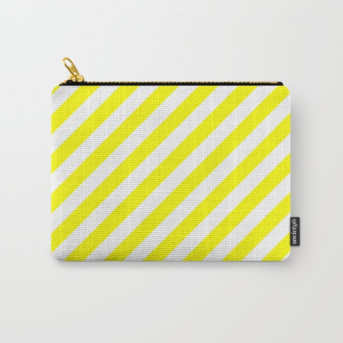 Diagonal Stripes (Yellow/White) Carry-All Pouch