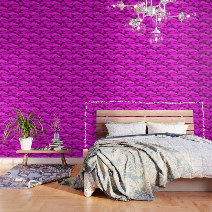 Outrageous Neon Hot Pink Camo Pattern Wallpaper by dec02