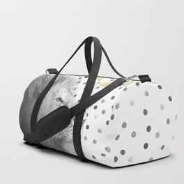 Silver Lion on Polka Dots Pattern Duffle Bag