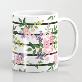 Pink roses bouquets with greenery on the striped background Coffee Mug