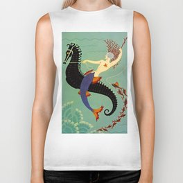 "Art Deco Illustration ""Water"" Biker Tank"